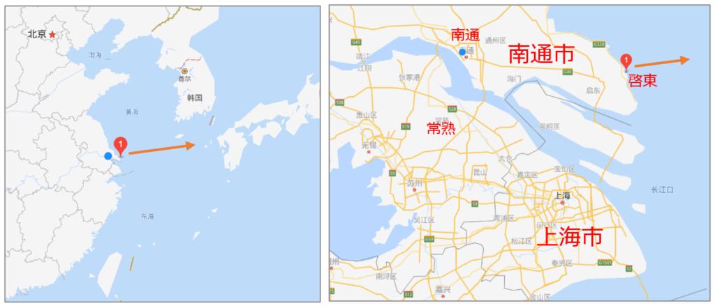 南通と日本の位置関係