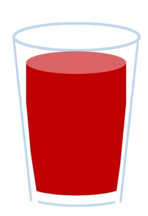 コップの赤い水