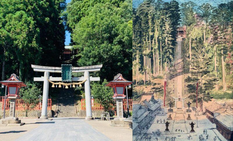 左:実際の写真、右:同じ場所のスケッチ